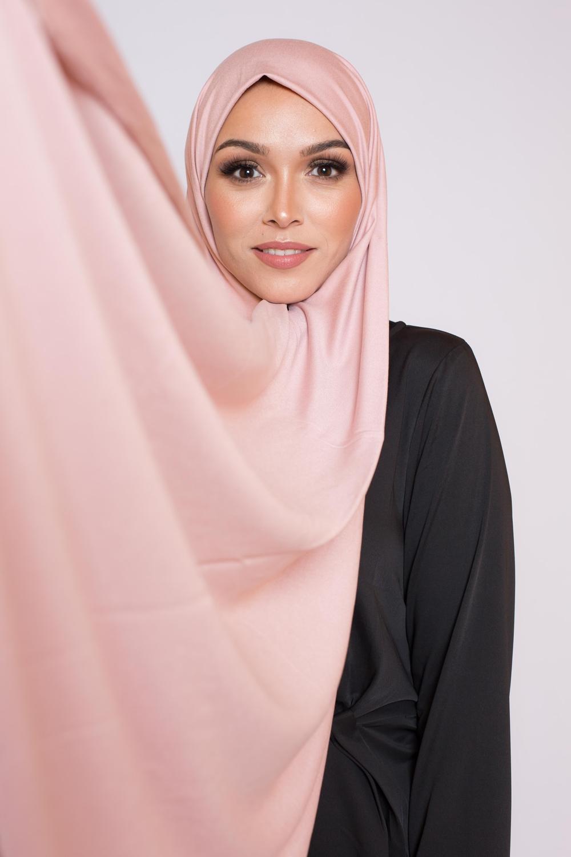 Maxi hijab jersey rose poudré