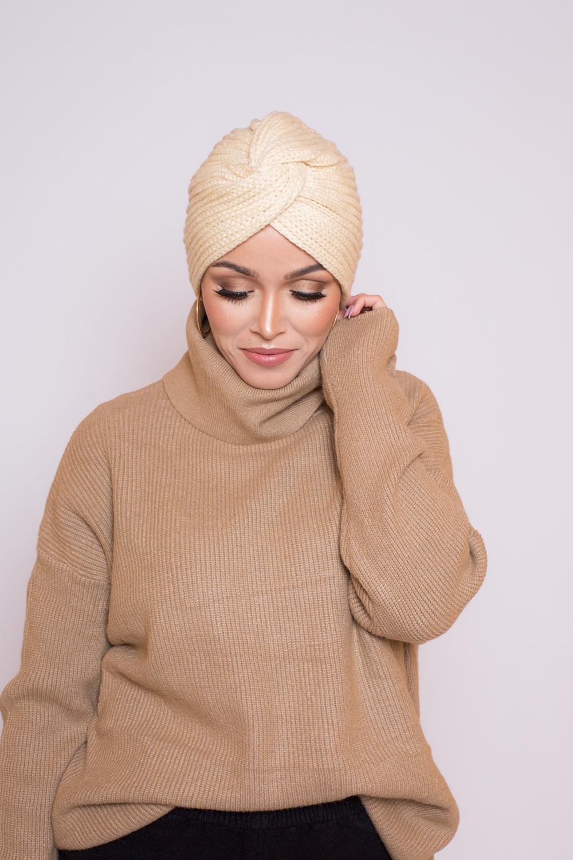Bonnet tricot écru