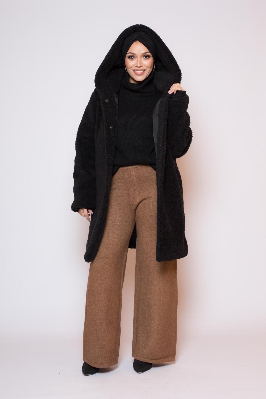 Manteau peluche capuche noir