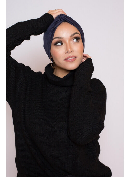 Bonnet turban bleu boutique hijab