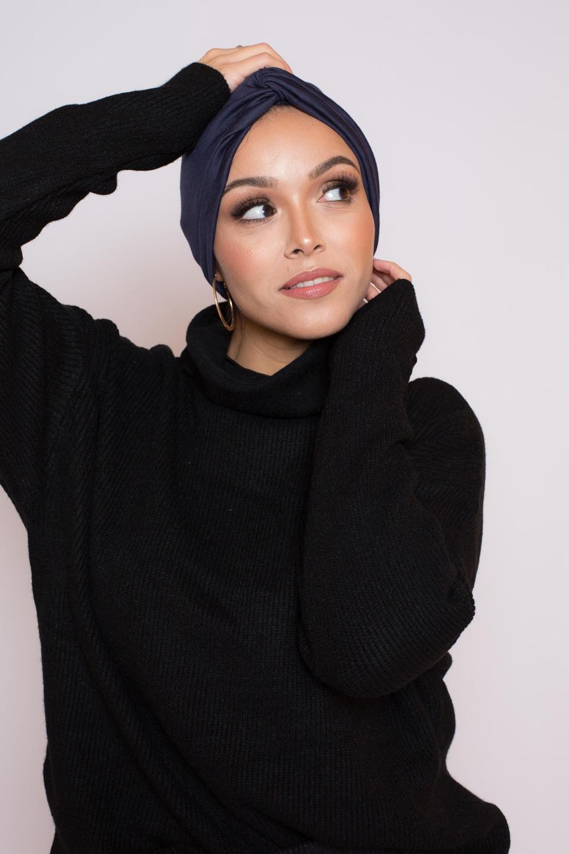 Bonnet turban bleu