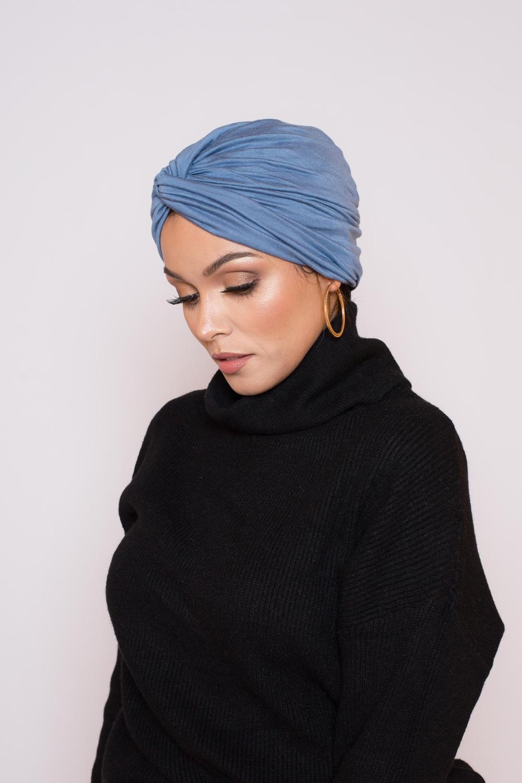 Bonnet turban bleu azur
