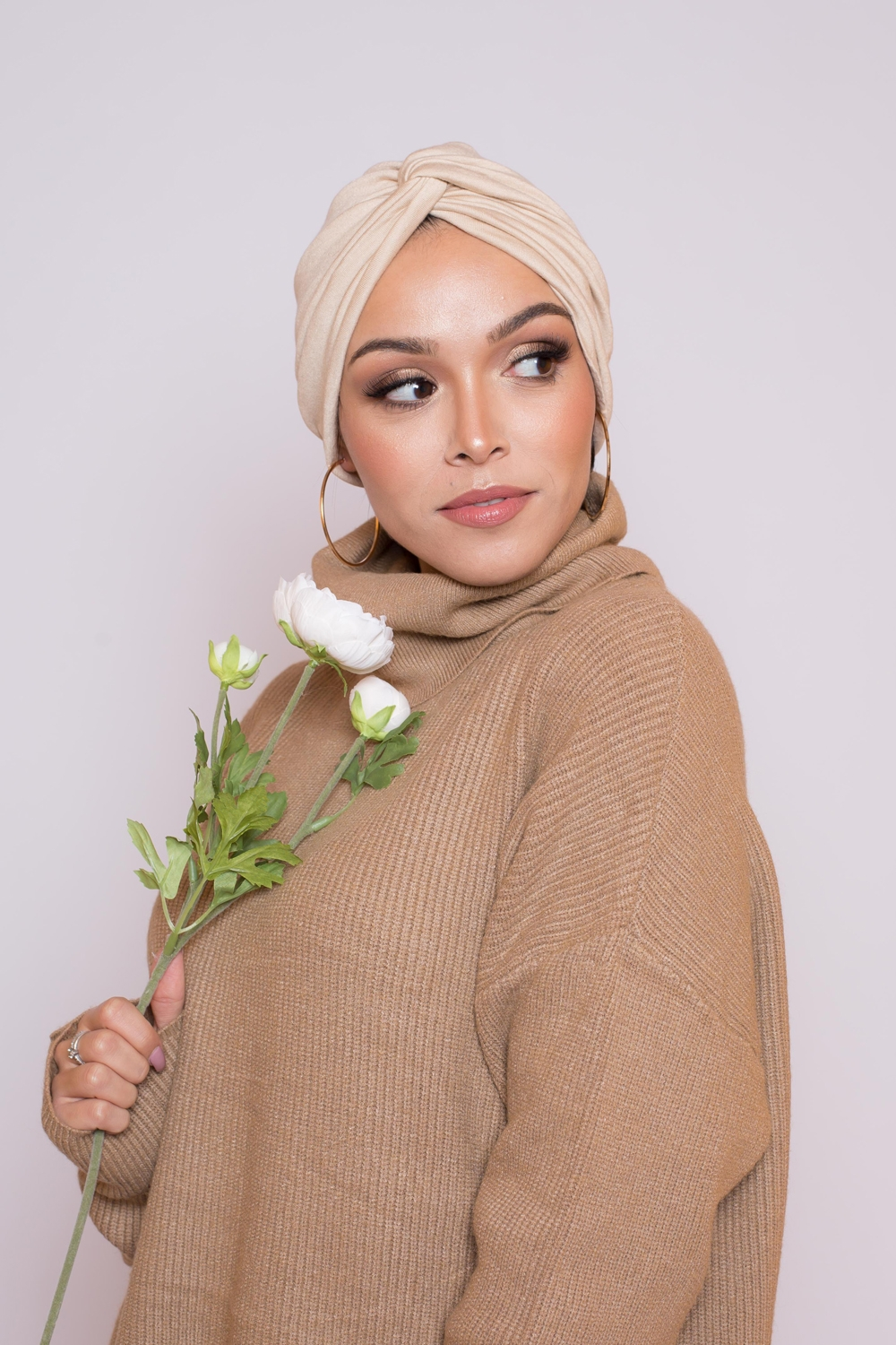Bonnet turban beige clair