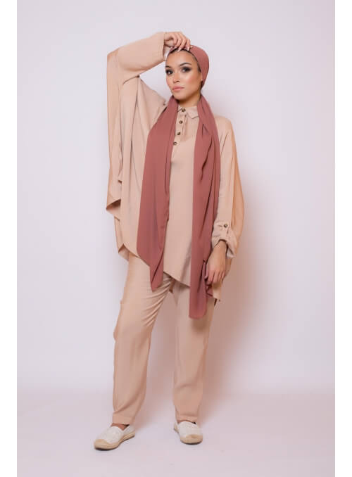 Ensemble street wear nude boutique hijab femme musulmane
