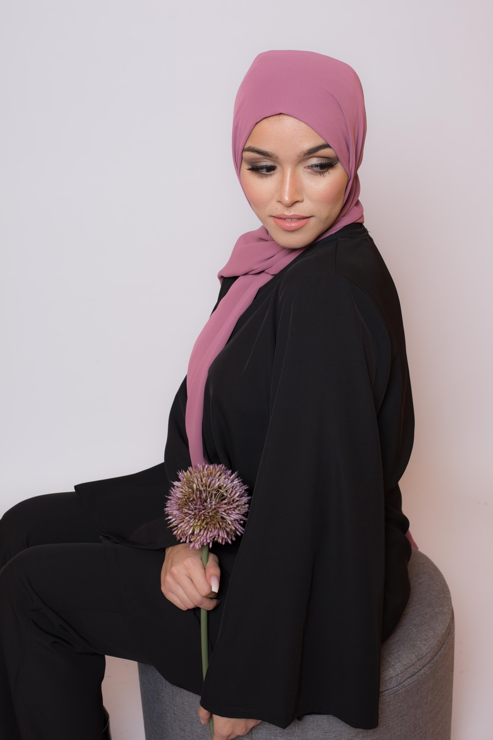 hijab luxe mousseline rose grena