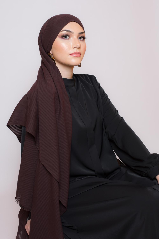 Hijab coton bio marron foncé