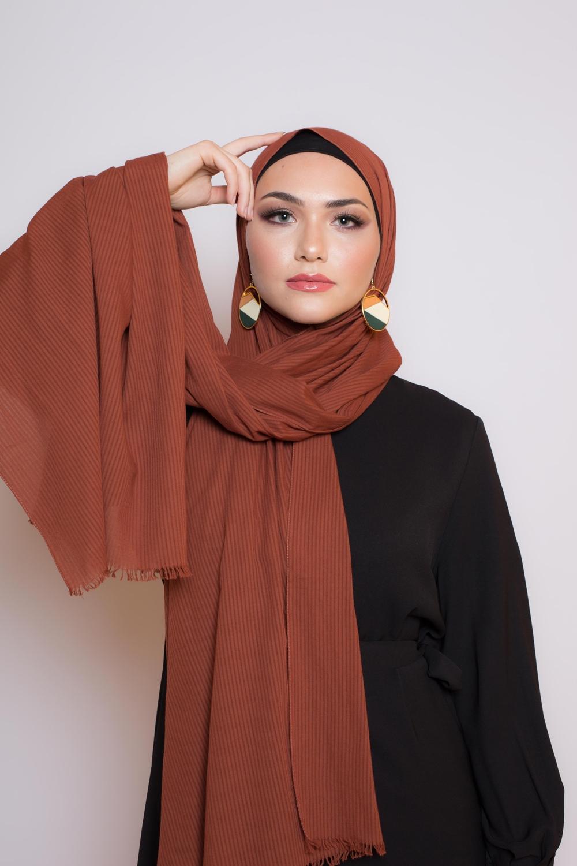 Hijab coton bio brique foncé