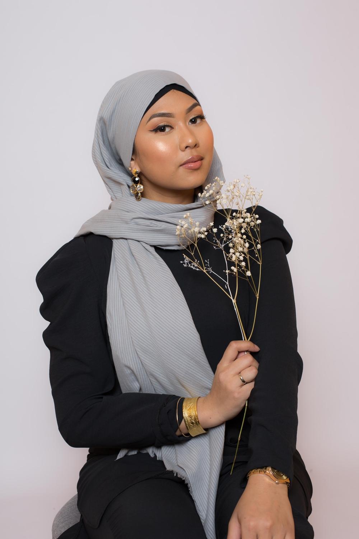 Hijab coton bio gris clair