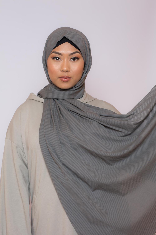 Hijab coton bio gris foncé