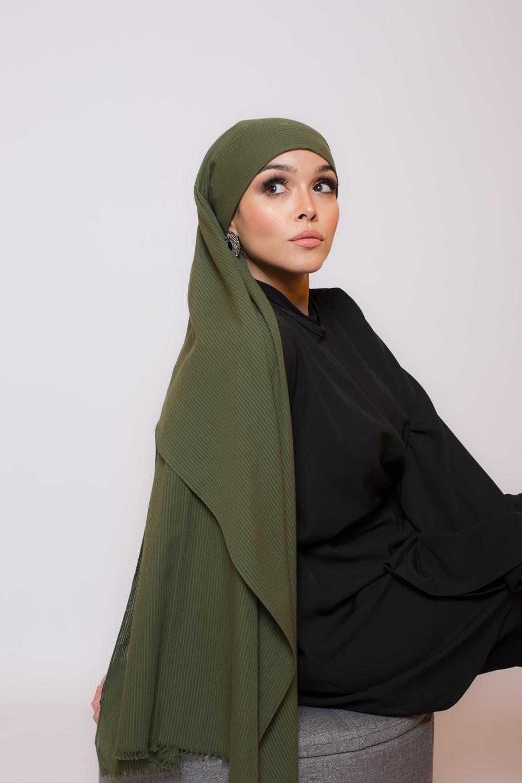 Hijab coton bio kaki