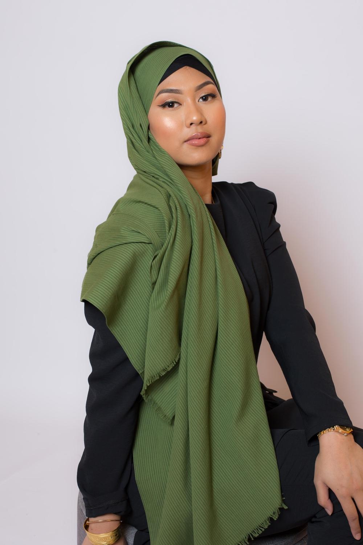 Hijab coton bio vert olive