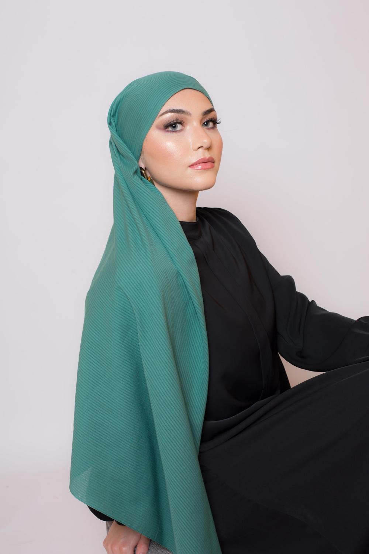 Hijab coton bio vert saphir