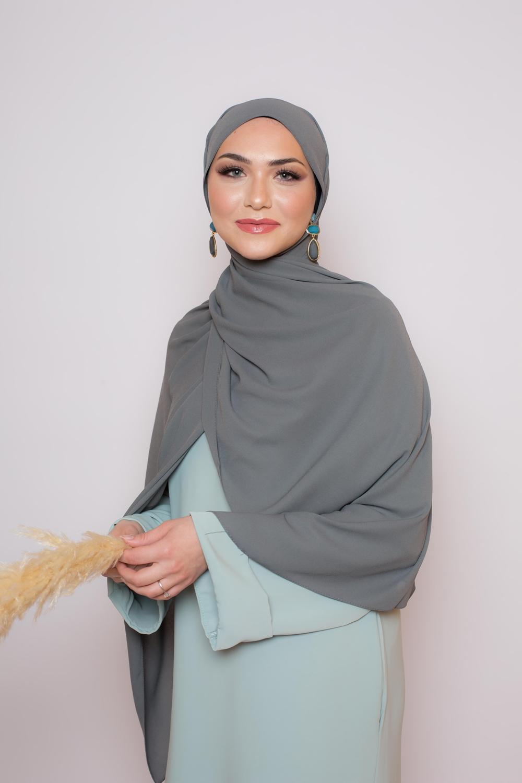 hijab luxe mousseline gris foncé