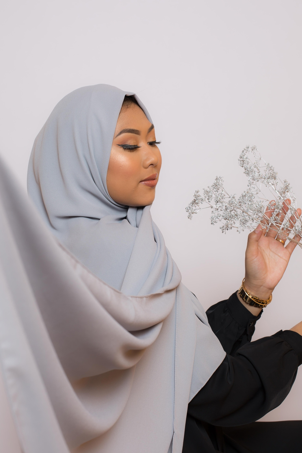 hijab luxe mousseline gris clair