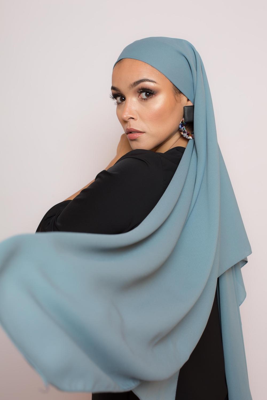 hijab luxe mousseline bleu glacé