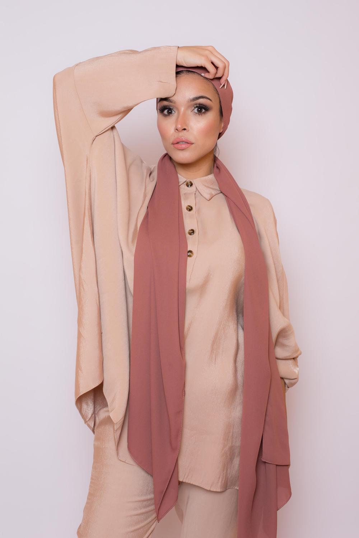 hijab luxe mousseline brique foncé