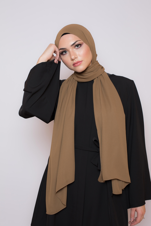 hijab luxe mousseline moka foncé