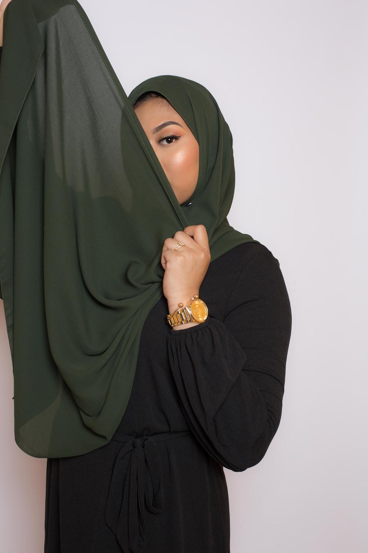hijab luxe mousseline kaki foncé
