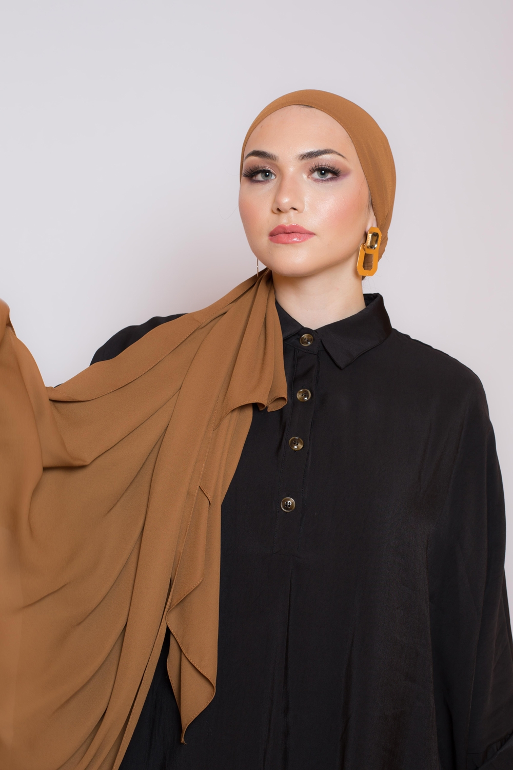 hijab luxe mousseline camel