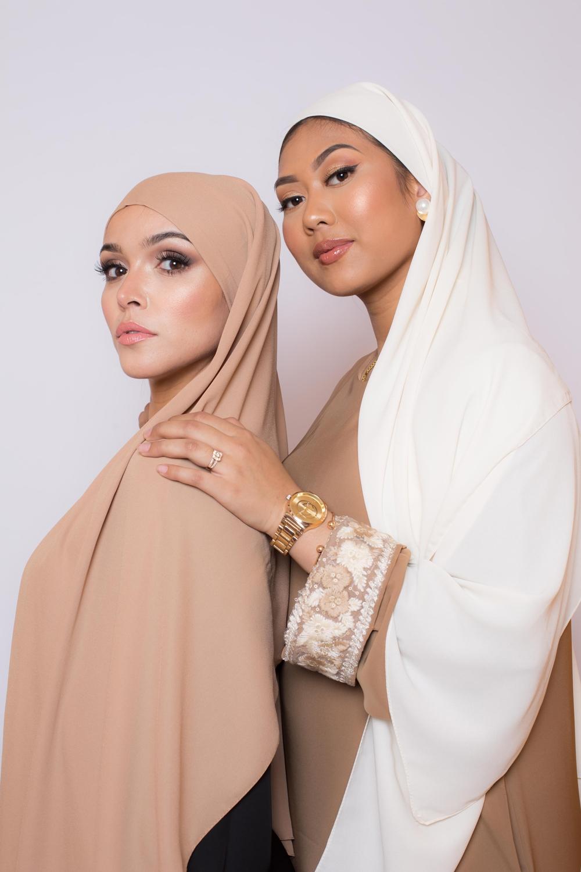 hijab luxe mousseline beige foncé