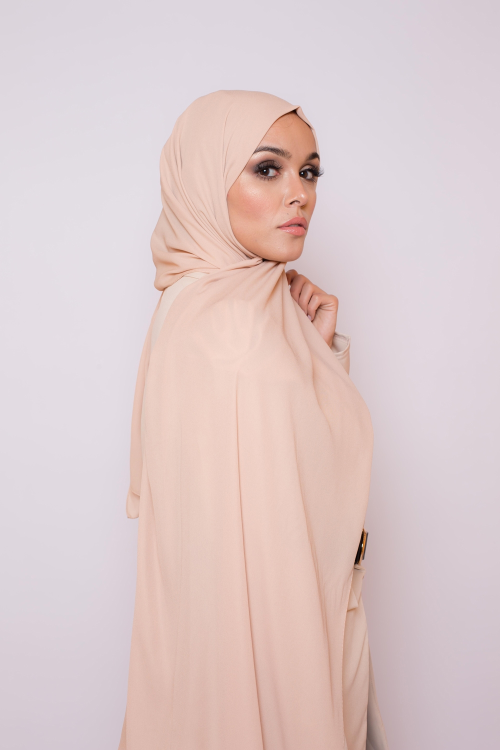 hijab luxe mousseline beige clair
