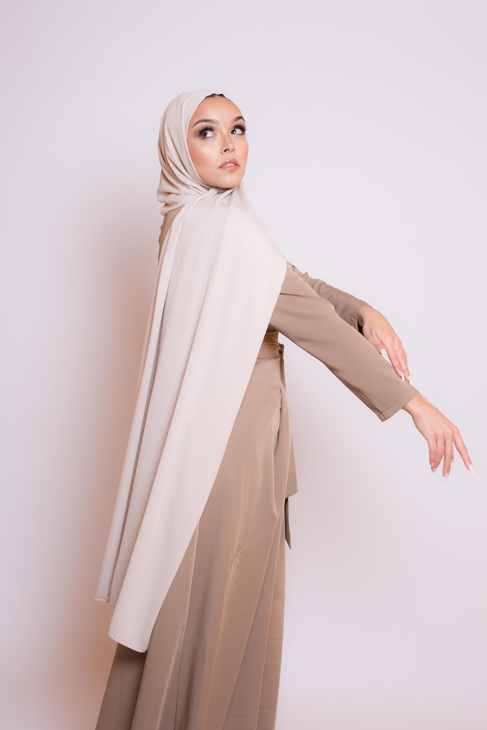 hijab luxe mousseline beige gris