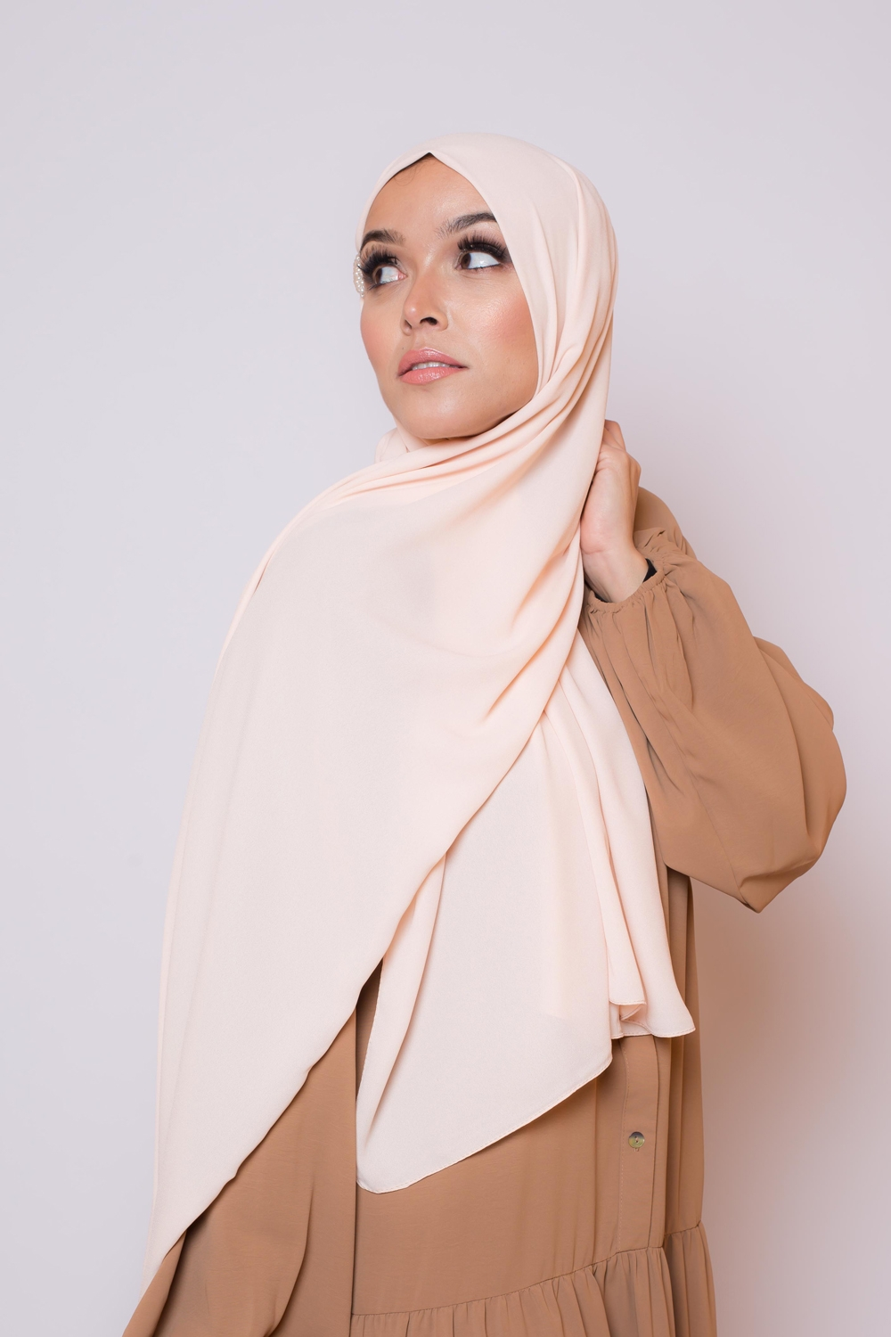 hijab luxe mousseline nude