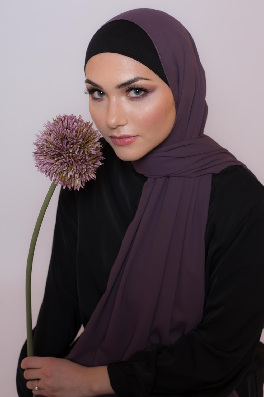 hijab luxe mousseline violet foncé