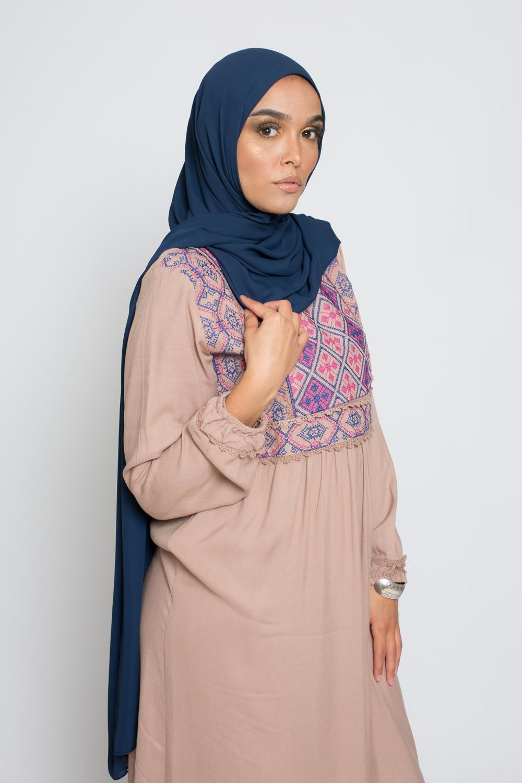 hijab luxe mousseline bleu foncé