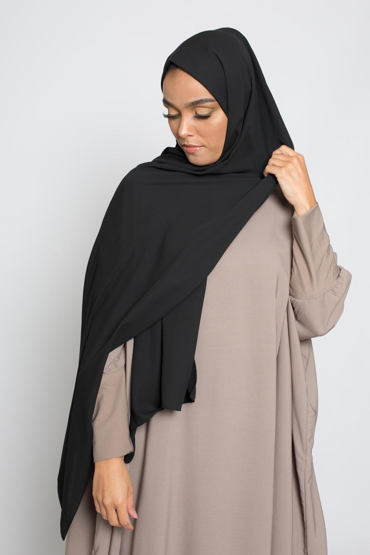 hijab luxe mousseline noir