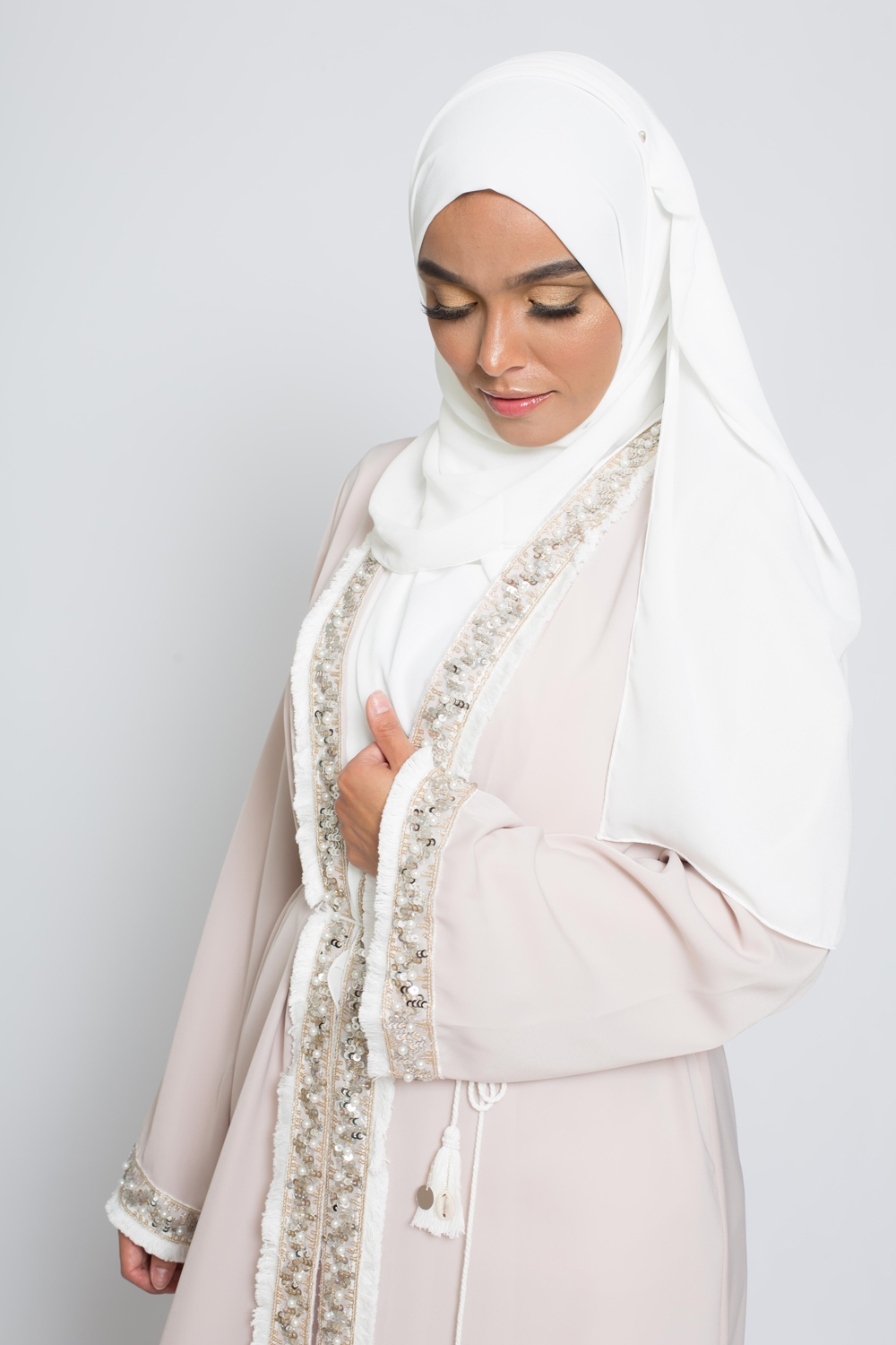 hijab luxe mousseline blanc