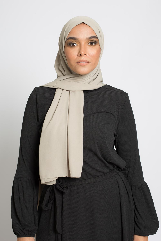 hijab luxe mousseline vert amande