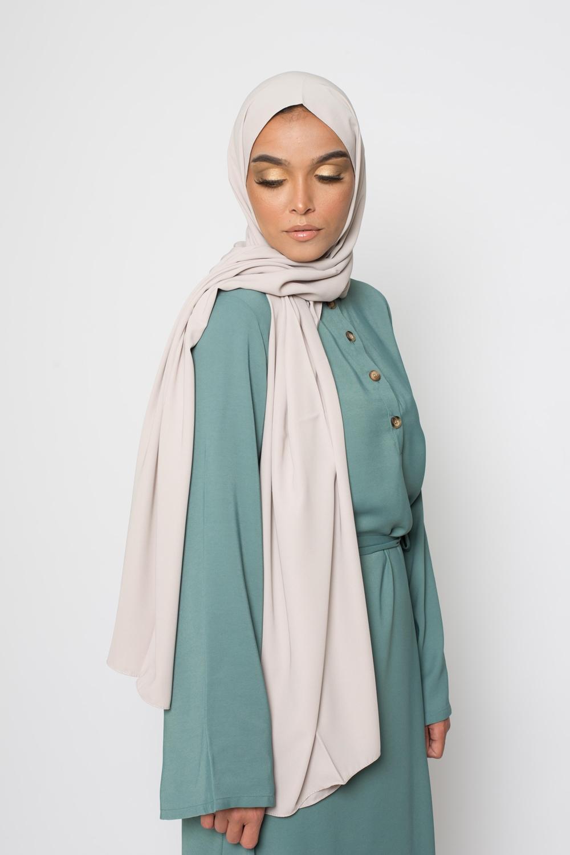 Hijab soie de médine beige grey