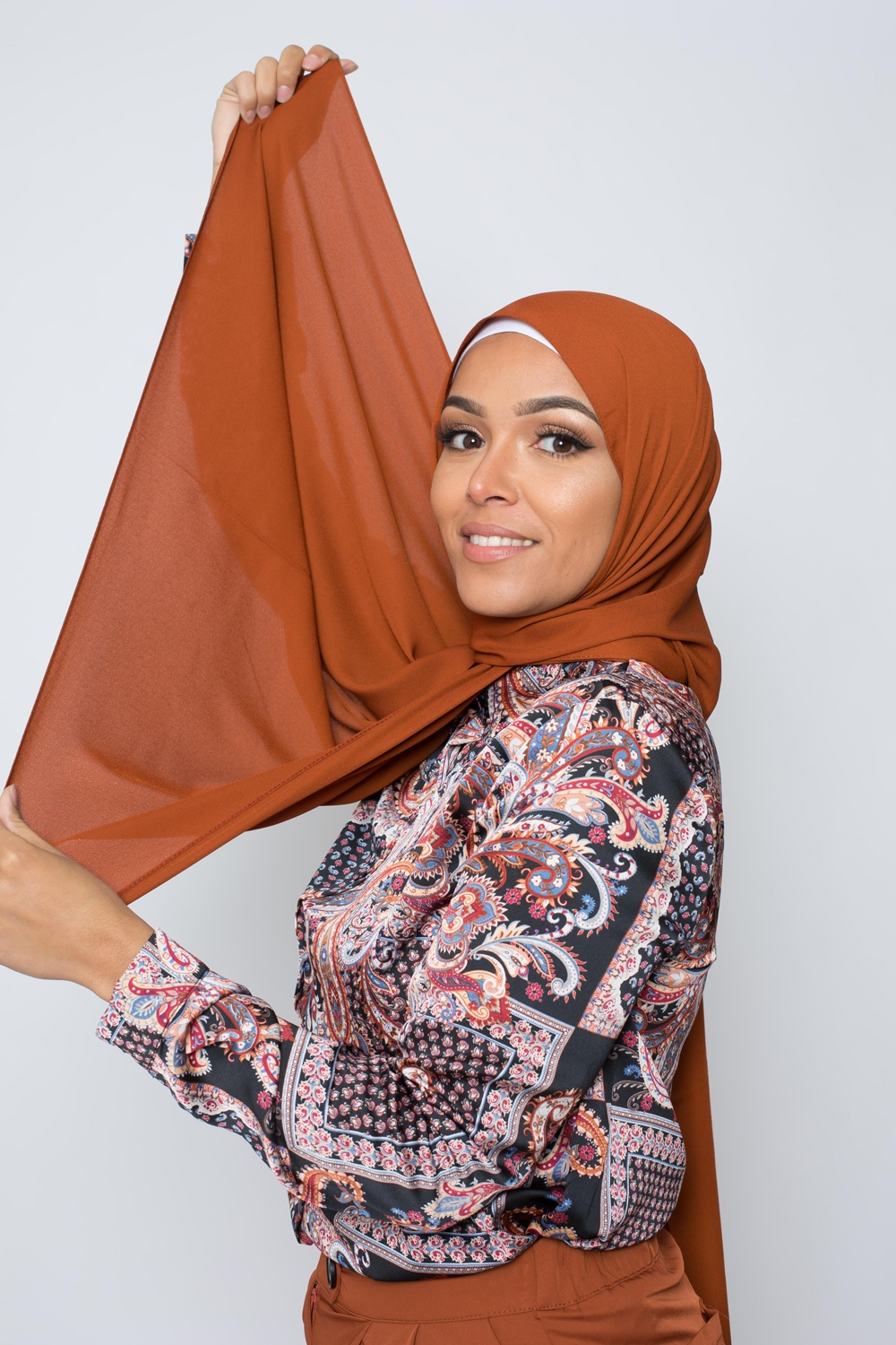 hijab luxe mousseline rouille