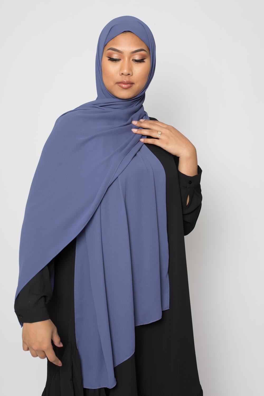 hijab luxe mousseline bleu Acier