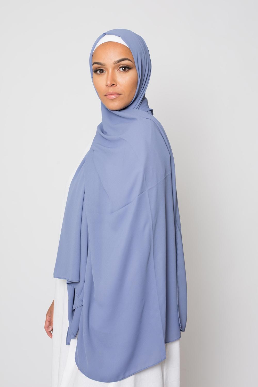 hijab luxe mousseline bleu denim