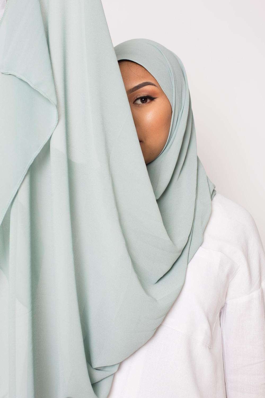 hijab xxl mousseline vert eau