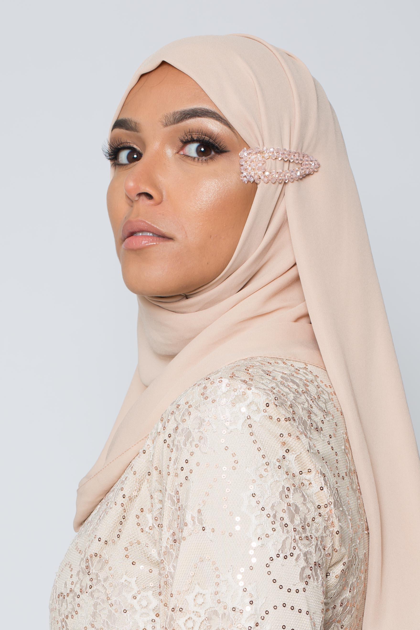 Barrette hijab perle rose poudré