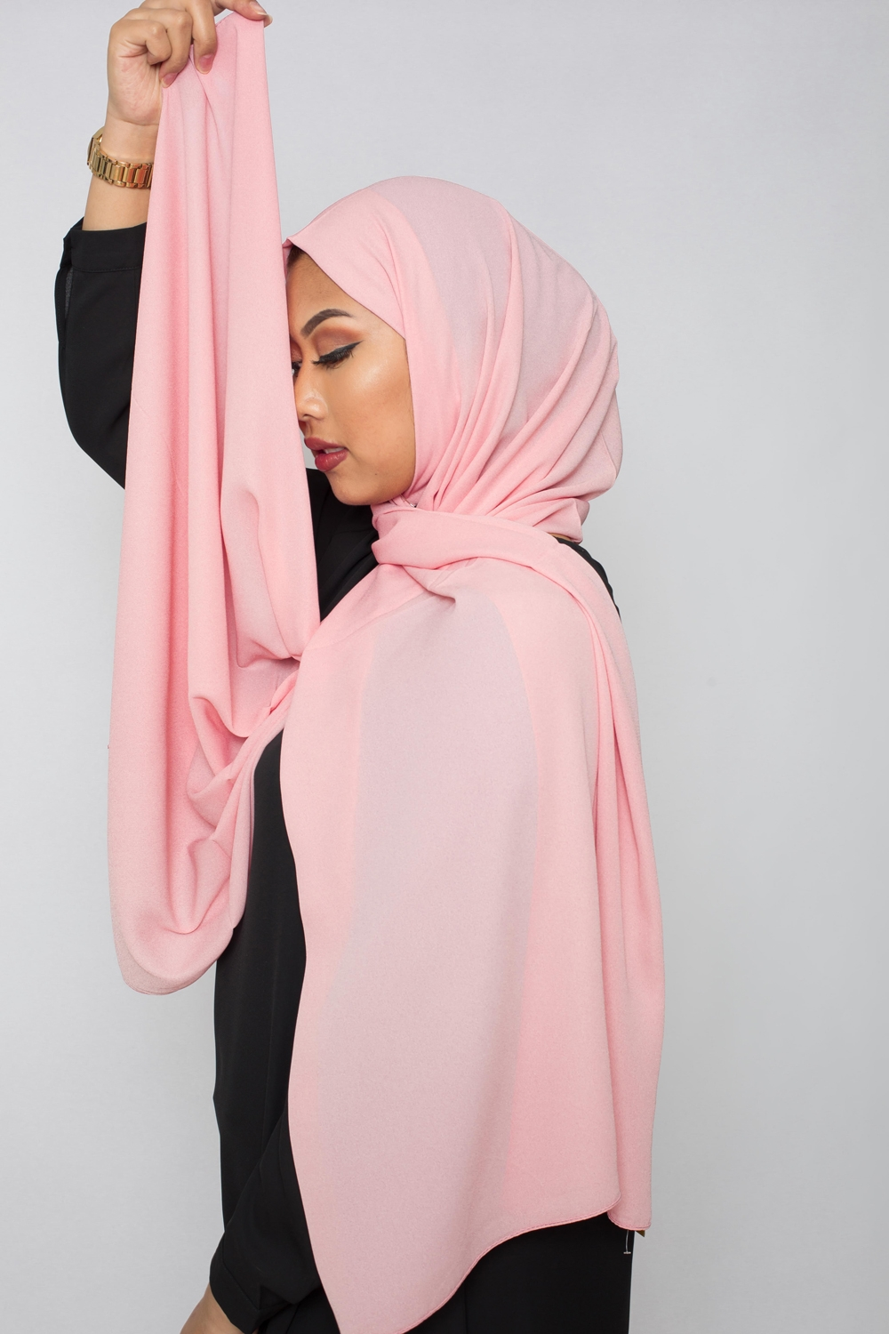 hijab luxe mousseline rose