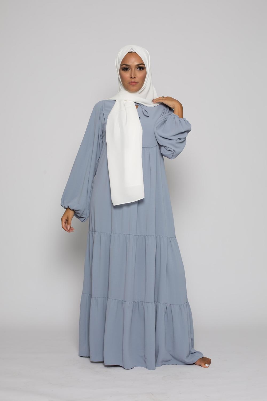 Robe bohème chic bleu pastel