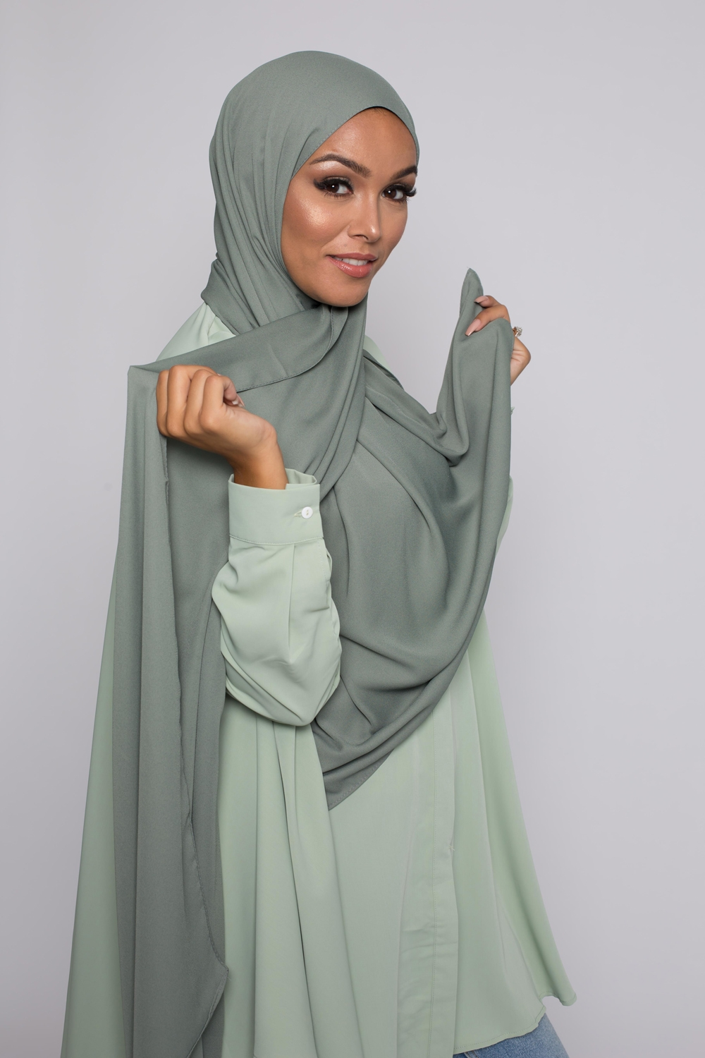 hijab luxe mousseline sauge