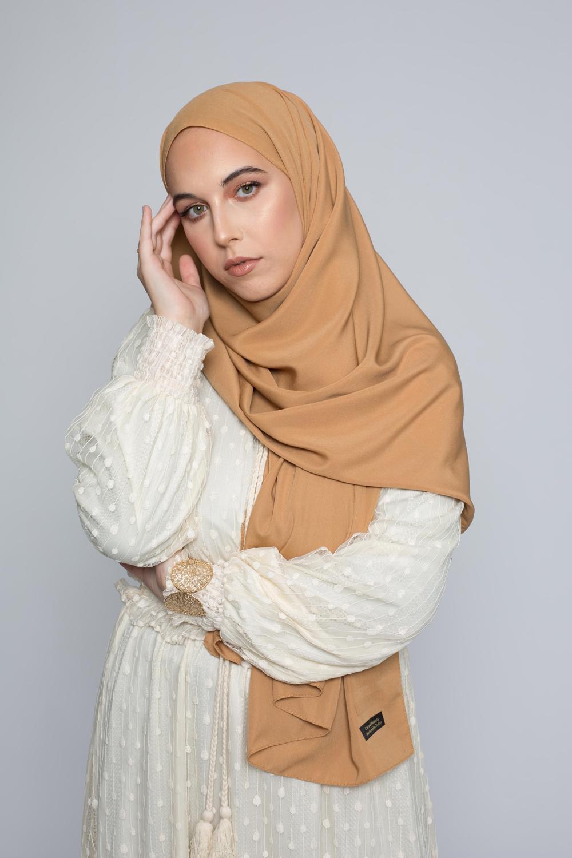 hijab luxe mousseline caramel