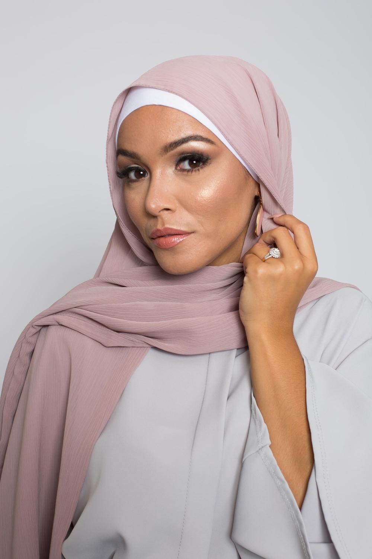 Hijab crêpe écorce taupe rosé