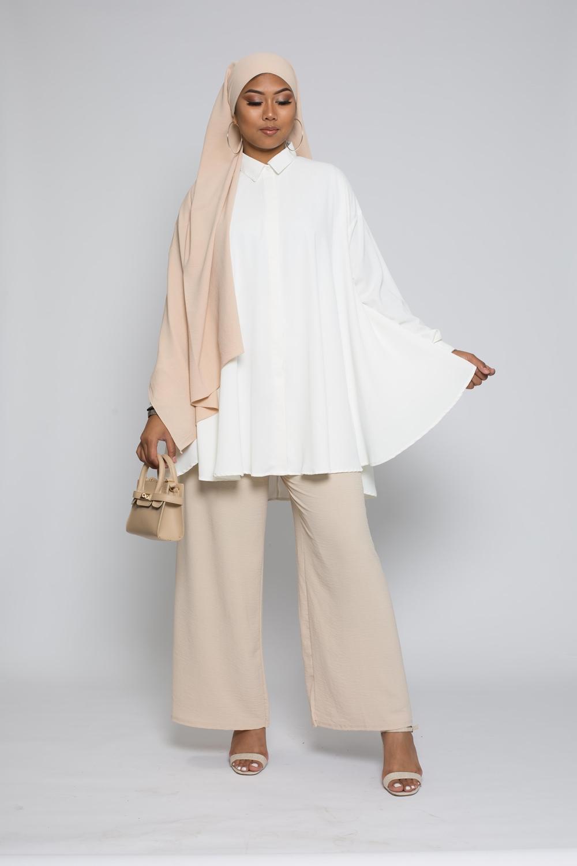chemise oversize blanc cassé