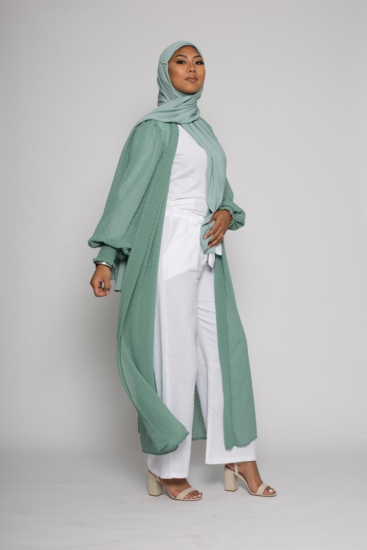 Kimono mousseline plumetis vert