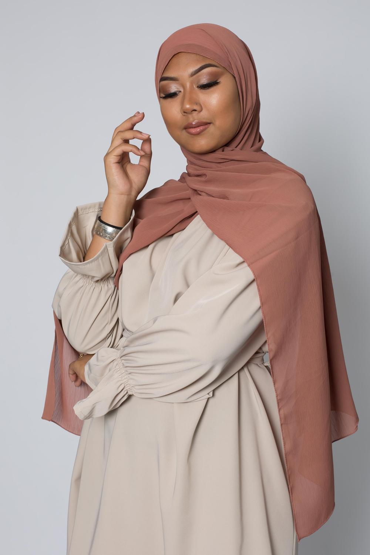 Hijab crêpe écorce terre cuite