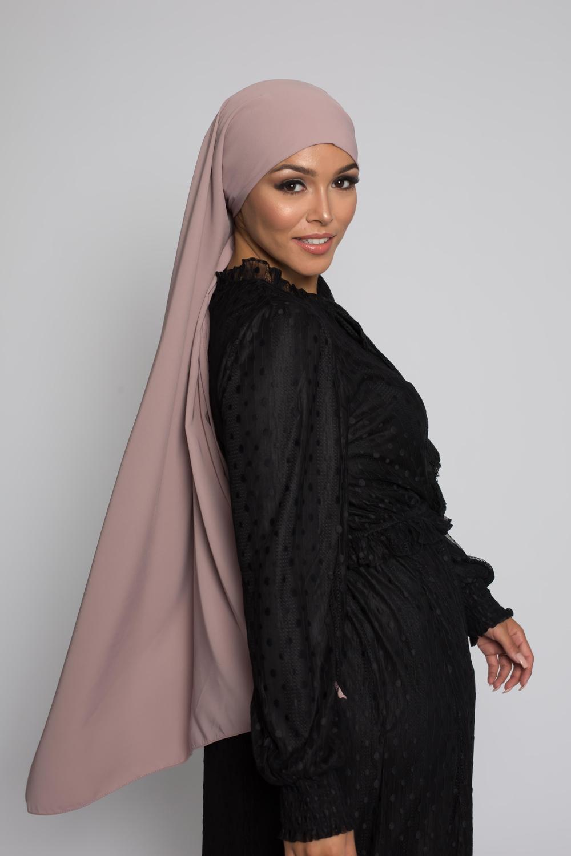 Hijab soie de médine taupe rosé