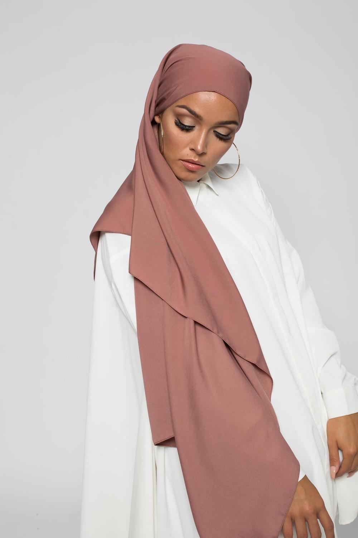 Hijab soie de médine prune marroné