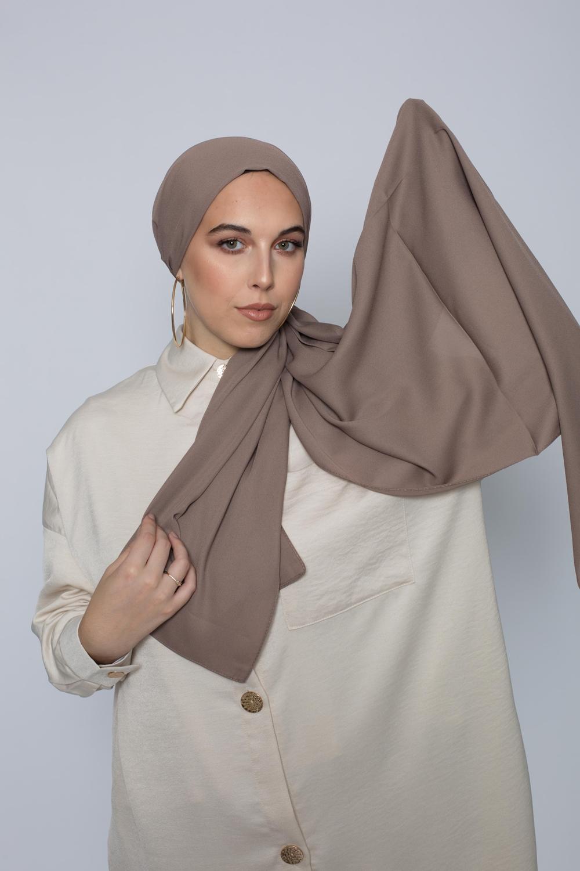 hijab luxe mousseline taupe foncé