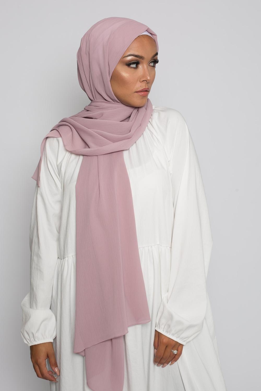 Hijab crêpe écorce vieux rose